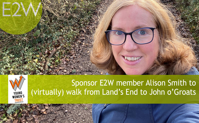 Sponsor E2W member Alison Smith to  (virtually) walk from Land's End to John o'Groats