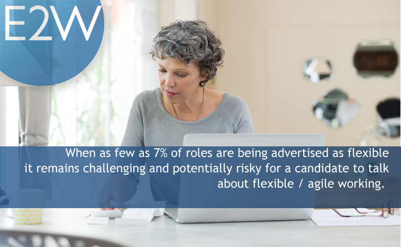 It remains challenging and potentially risky for a candidate to talk about flexible / agile working