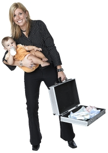 What is being done by financial companies on women returning to work from maternity leave?