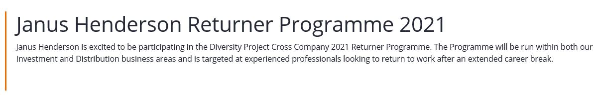 Janus Henderson Returner Programme 2021